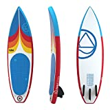 Jimmy Styks AirSurf 6' Short board | Surfboard | 6' Long, 20'' Wide, 3.2'' Thick Inflatable Surfboard - Red and Blue | Includes Pump, Coiled Safety Leash, Carry Bag and Repair Kit