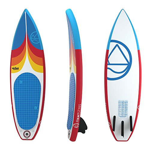 Jimmy Styks AirSurf 6' Short board | Surfboard | 6' Long, 20'' Wide, 3.2'' Thick Inflatable Surfboard - Red and Blue | Includes Pump, Coiled Safety Leash, Carry Bag and Repair Kit by Jimmy Styks