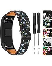TOPsic Compatible Garmin Vivosmart HR Strap Band, Leather Bracelet Replacement Straps Wristband with Screwdrivers for Garmin Vivosmart HR Activity Tracker Watch Strap