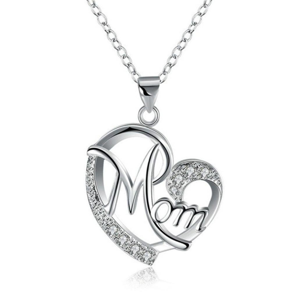 Nmch Heart Pendant Necklace Hip Hop Women's 3mm Gold Stainless Steel Link Mom Necklace Fashion Jewelry Gift (Silver, 2.92.1CM)