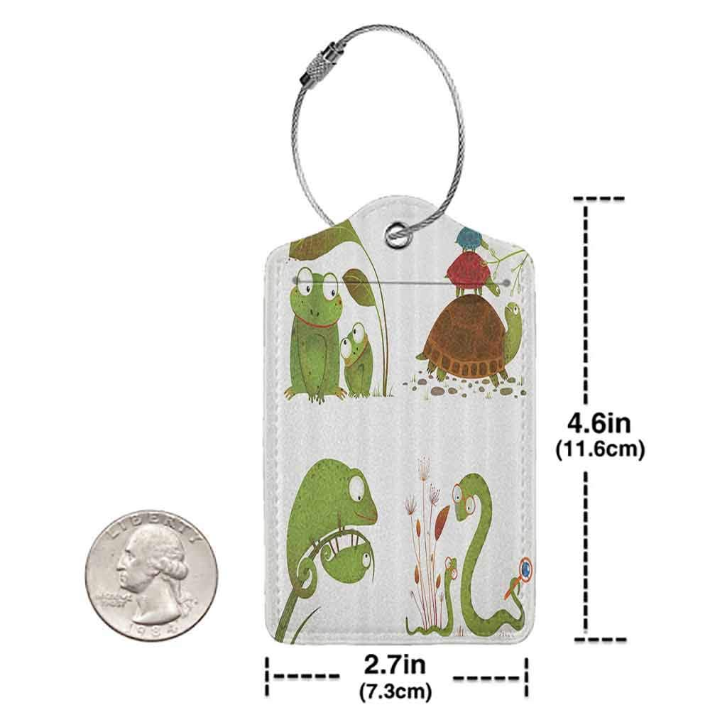 Printed luggage tag Reptile Decor Reptile Family with Colorful Baby Collection Snake Frog Ninja Turtles Love Mother Protect personal privacy Green Brown Blue W2.7 x L4.6