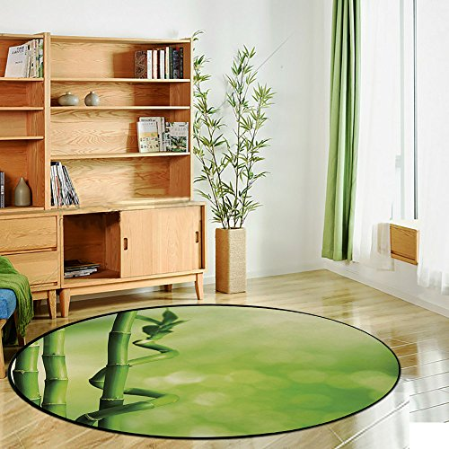 Printing Round Rug,Green,Bamboo Stems Nature Ecology Sunbeams Soft Spring Scenic Spa Health Relaxation Decorative Mat Non-Slip Soft Entrance Mat Door Floor Rug Area Rug For Chair Living Room,Green Lig by iPrint (Image #2)
