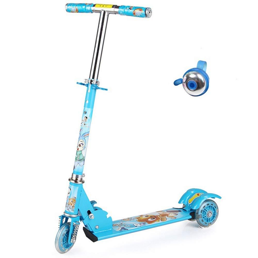 Hkkint 子供の三輪フラッシュスケートボードの自転車に適して、折りたたむことができる、持ち運びする、調整することができます、子供の誕生日プレゼント ( Color : 青 )