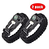 whistle buckle 1 2 - Survival Paracord Bracelet - 5-In-1 Outdoor Paracord Survival Kit: Parachute Cord, Buckle with Compass, Fire Starter, Whistle & Emergency Knife Scraper(pack of 2) (BLACK)