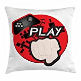 Gamer Throw Pillow Cushion Cover, Gaming Illustration with Play Quote and Pointing Finger Abstract Squares Design, Decorative Square Accent Pillow Case, 18 X 18 Inches, Cream Black Red