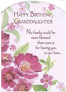 Amazon special granddaughter birthday greeting card second pink flowers with glitter z fold granddaughter designer greetings birthday card m4hsunfo