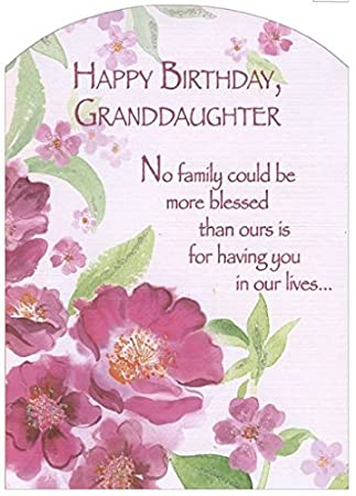 Amazon pink flowers with glitter z fold granddaughter pink flowers with glitter z fold granddaughter designer greetings birthday card m4hsunfo