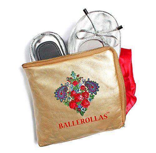 Ballerinas faltbar - Wechselschuhe BALLEROLLAS, 100% Echtleder, silber Gr. 36
