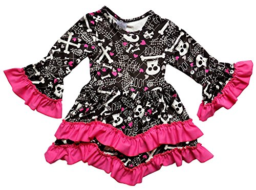Toddler Skeleton Dress (So Sydney Toddler Girls Boho Ruffle Crochet Lace Trim Flare Sleeve Dress (XL (6), Hot Pink Black Skeleton))