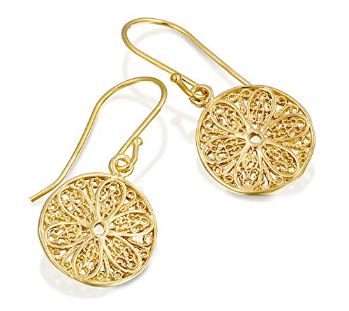 (Antique Style Round Dangle Earrings with Ornate Filigree Design 14k Gold Plated Silver Women's Jewelry)
