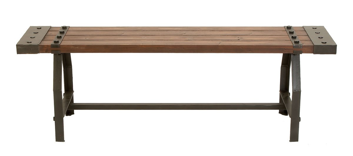 "Deco 79 51681 Industrial Black Metal & Brown Wood Bench, 55"" x 18"" by Deco 79 (Image #1)"