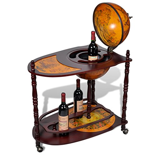 Festnight Globe Bar Cabinet with Table Trolley