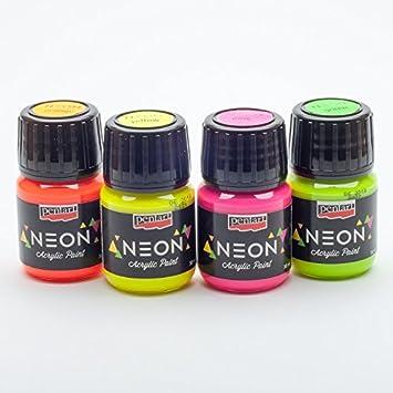Acrylfarbe Neon In Set 4x30ml Neonfarbe Leuchtfarbe Bastelfarbe