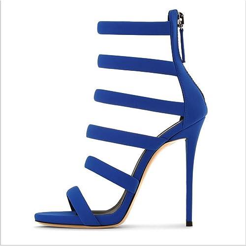 5c6080b5fb 2018 Zapatos de Mujer Verano nuevos Azul Stiletto Zapatos de Tacones Altos  Ladies Sandalias de tacón