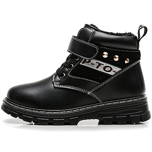 VILOCY Boys Buckle Velcro Ankle Snow Boots Kid's Warm Fur Lined Shoelace Martin Sneaker Winter Outdoor Antiskid Boot Shoes