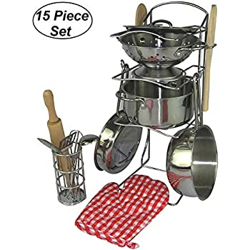 Oojami 15 Pieces Pretend Play Toy Kitchen Cookware Set Stainless Steel Pots and Pans Includes a Handy Storage Rack