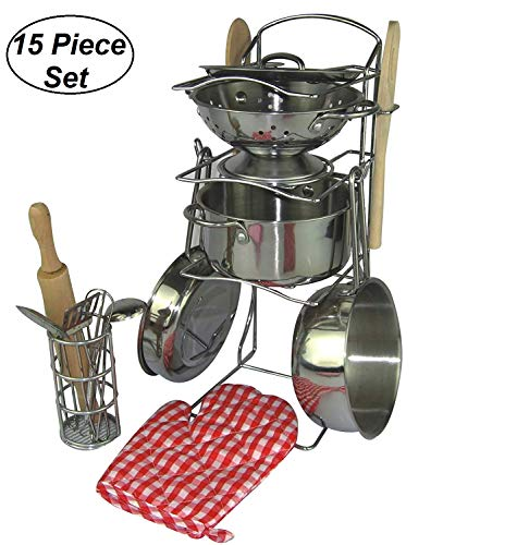 - Oojami 15 Pieces Pretend Play Toy Kitchen Cookware Set Stainless Steel Pots and Pans Includes a Handy Storage Rack