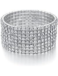 Bridal Rhinestone Bracelet Stretch Silver Tone - Ideal...