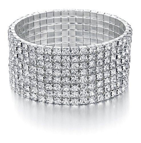 JEWMAY Yumei Jewelry 8 Strand Rhinestone Stretch Bracelet Silver-Tone Sparking Tennis -