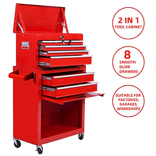 Tool Box 8-Drawer Rolling 2 in 1 Tool Cabinet With Drawer Removable Tool Box,Keyed Locking System Toolbox Organizer Boxes,Red