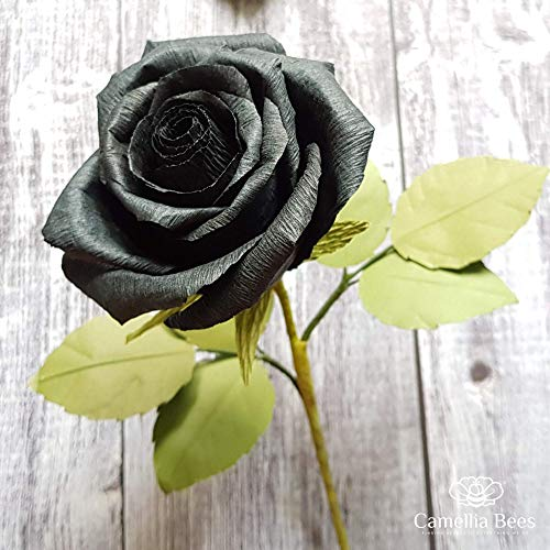 Black Paper Rose Perfect Anniversary Paper Gift Handmade Art Realistic Artificial Roses Unique Gift For Her, Single Long Stem, 01 Flower]()