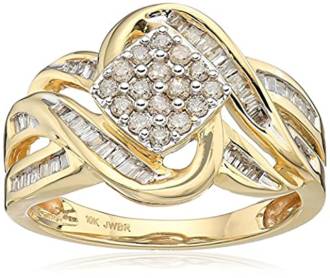 10k Yellow Gold Diamond Square cluster Ring (1/2 cttw), Size 8 - 10k Gold Cluster Ring