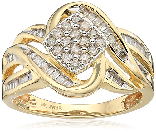 10k Yellow Gold Diamond Square cluster Ring (1/2 cttw), Size 8 (Yellow Gold Ladies Cluster)