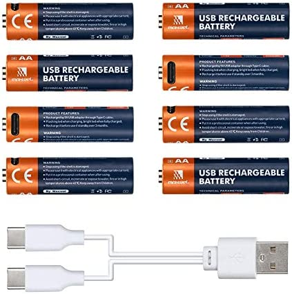 Rechargeable AA Lithium Batteries - 8 Pack 2600mWh Hi Capacity USB Rechargeable Double AA Battery with Charge Cable Fast Full Charging in 1.5 Hours CE FCC Listed