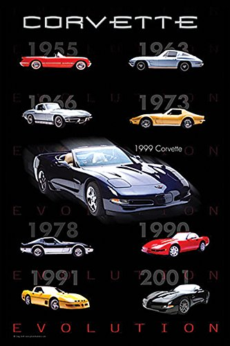 Chevrolet Corvette Evolution American Muscle Sports Car Photography Hobby Poster Print 24 by 36