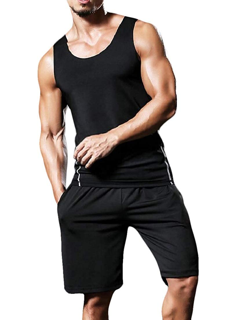 Abetteric Mens Bodycon Quick Dry Athletic Sleeveless Compression Activewear