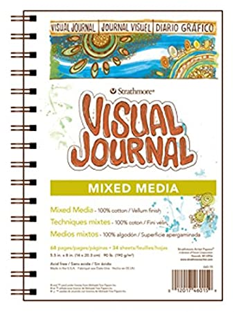Strathmore 500 Series Visual Mixed Media Journal, 5.5x8 Vellum, Wire Bound, 34 Sheets 5.5x8 Vellum Strathmore Paper 460-15