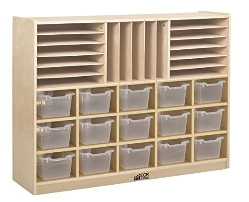 ECR4Kids Birch Multi-Section Storage Cabinet with 15 Scoop Front Bins, Clear by ECR4Kids