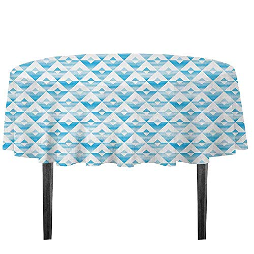 kangkaishi Modern Printed Tablecloth Geometric Contemporary Shapes Triangle Line with Clear Cloud Backdrop Image Desktop Protection pad D55.11 Inch Light and Baby Blue ()