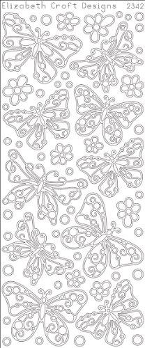 "Butterfly Small Peel Off Stickers 4""X9"" Sheet-Silver"