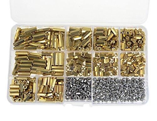 Nut Spacer - XLX 600pcs M2 M3 Brass Male-Female / Female-Female Spacer Standoff Screw Nut Assortment Kit and stainless steel Screw Nut Set (Brass M3)