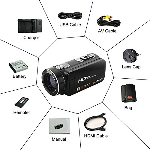 """Camcorder Video Camera Full HD 1080p @30fps Camcorders 3"""" Touch Screen Digital Camera Support Webcam with Remoter Controller by COMI (Image #6)"""