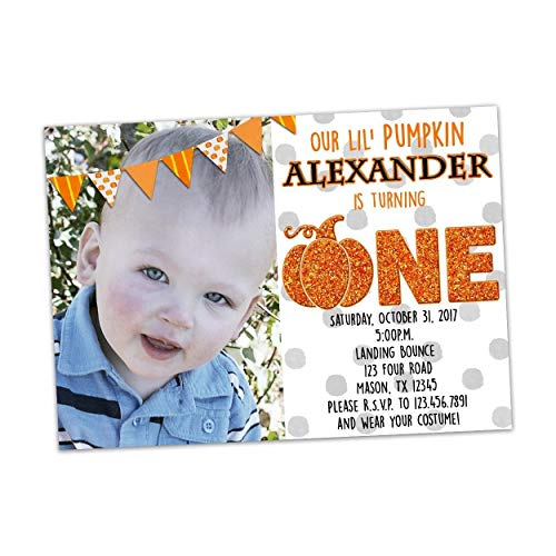 Pumpkin First Birthday Invitation Photo Halloween -