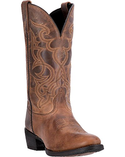 Laredo Women's 11'' Maddie Distressed Round Toe Western Casual Boots, Tan Leather, 10 W