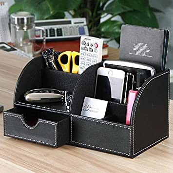 Ogori office multi functional pu leather desk organiser tidy ogori office multi functional pu leather desk organiser tidy business card pen mobile phone remote reheart Gallery