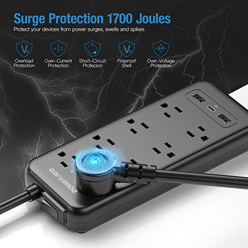 Protector USB C Power Delivery 18W, 8 AC Outlets 3 USB Ports 1875W 1700J, Flat Plug, 6ft Extension Cord, Wall Mountable for Home, Office, Computer TV-Black