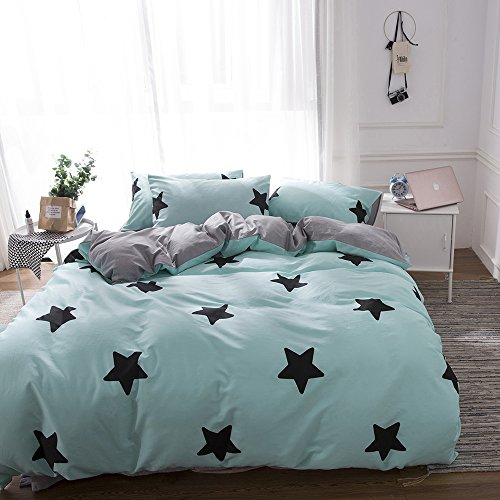 Star Full Comforter - BHUSB Queen Duvet Cover Set Kids Boys Five Pointed Star Printing Bedding Sets Teal Blue with Zipper Closure 100% Cotton Kids Comforter Cover Bedding Sets Full Reversible with Grey Striped Pattern