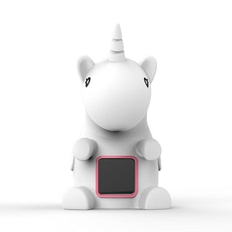 Unicornio LED de luz nocturna con reloj digital y medición de temperatura para la decoración de