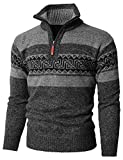 H2H Men's Fashion Mid-Weight Knitted Half Zipper Cardigan Sweater Gray US M/Asia M (KMOSWL0237)