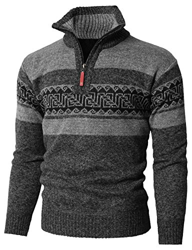 Zipper Knitted - H2H Men's Casual Thick Knitted Zipper Cardigan Sweater Gray US L/Asia L (KMOSWL0237)