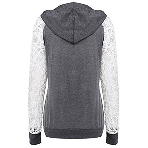 Patchwork Manteau Vêtements Shirt Tops Arrêtez Vous Magiyard Capuche Dentelle Foncé Sweat d'extérieur Femmes à Sweat Encapuchonné gxE1Pq