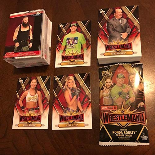 2019 Topps Road to WrestleMania Hand Collated Complete Wrestling Set of 100 Cards Plus Roster 35 Set of 50, 150 cards total. All cards Near Mint to Mint Condition INCLUDES BONUS EMPTY RETAIL WRAPPER. Multiple cards of Rhonda Rousey plus John Cena, Alexa Bliss, Charlotte Flair, Asuka, Ruby Riot and Many More from Road to Wrestlemania