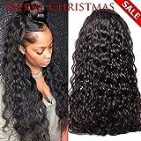 GEM Beauty Half Lace Front Human Hair Wigs Water Wave Unprocessed Brazilian Virgin Hair Wigs 130% Density For Women Natural Black(16 inch)
