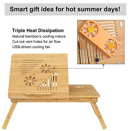 SONGMICS Laptop Desk Table with USB Fan Bamboo Wood Breakfast Serving Bed Tray Adjustable Tilting Top Drawer ULLD003