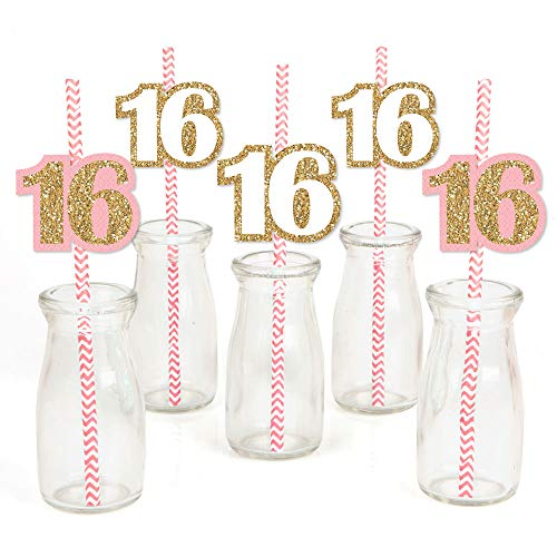 Sweet 16 Paper Straw Decor - Birthday Party Striped Decorative Straws - Set of 24