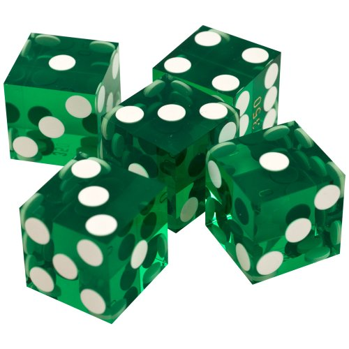 Trademark Poker 19mm A Grade Serialized Set of Casino Dice (Green) ()